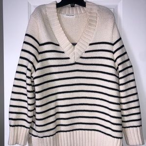 White and blue striped sweater